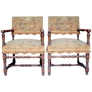 "Early 18th Century Antique French Louis XIII ""Chaises à Bras"" - a Pair For Sale"