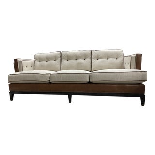 Vanguard Michael Weiss Leather & Fabric 8-Way Hand Tie Whitaker Sofa For Sale