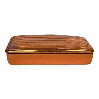 Ben Seibel Modernist Ribbed Lidded Copper Box For Sale