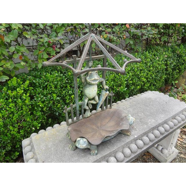 Green French Art Nouveau Wrought Iron Umbrella Stand For Sale - Image 8 of 12