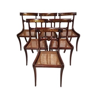 1810 Regency Brass Inlaid Dining Chairs - Set of 6 For Sale