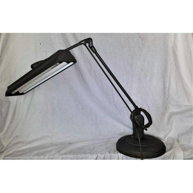 Vintage Large 1960's Articulated Industrial Lamp. Battleship Gray in color. Table or desk top lighting for work station or...