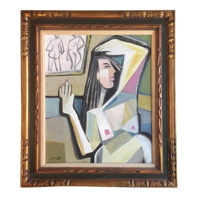 Original Stewart Ross Abstract Female Nude Painting For Sale