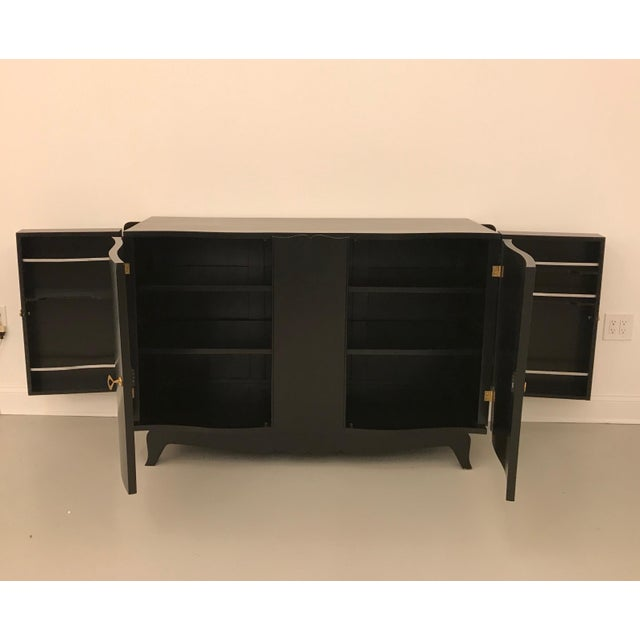 Black French Art Deco Black Lacquered Sideboard or Buffet With Dry Bar For Sale - Image 8 of 12