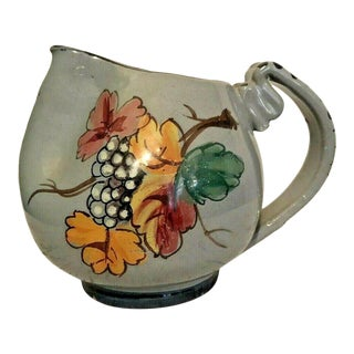 Vintage Italian Hand Painted Clay Pottery Cream Pitcher Artist Signed For Sale