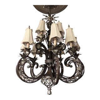 Large Silver & Iron Chandelier