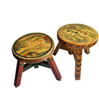 Tibetan Hand Crafted Wooden Stools - a Pair