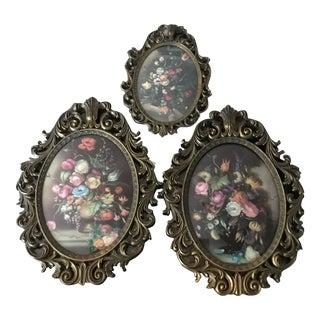 1900s Vintage Italian Convex Glass & Brass Frame Floral Prints- Set of 3 For Sale