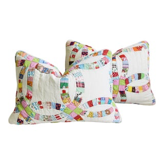 """American Shabby Chic Farmhouse Patchwork Feather/Down Pillows 24"""" X 17"""" - Pair For Sale"""
