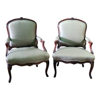 Louis XV Style Fauteuil Chairs - a Pair For Sale