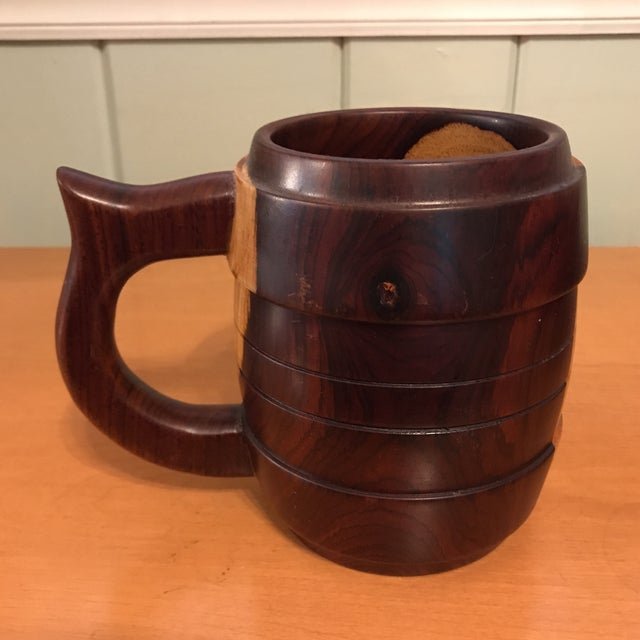 1980s Carved Wood Stein Mug For Sale - Image 5 of 11