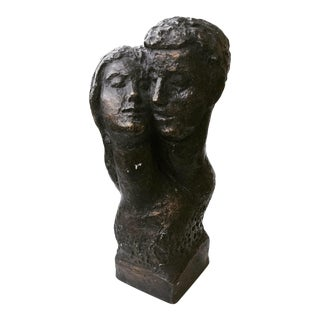 1962 Vintage Embracing Man & Woman Bust Sculpture For Sale