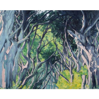 Forest Trees Along the Famous Road to Hana, Maui in a Large Oil Painting by Contemporary Expressionist George Brinner For Sale