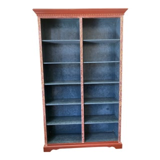 Custom Hand Painted Pine Bookcase + Adjustable Shelves For Sale