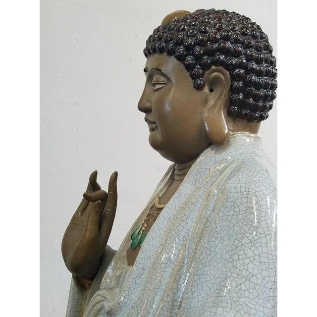 Glazed Ceramic Buddha Statue - Image 5 of 9