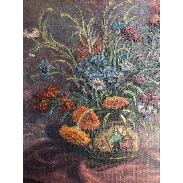 1920s Vintage Edyth Glover Ellsworth Still Life With Flowers and Blue Vase Painting For Sale - Image 9 of 11