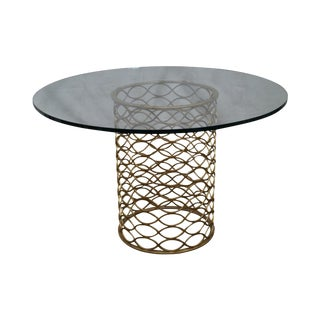 Jonathan Charles Gilt Metal Round Glass Top Dining Table For Sale