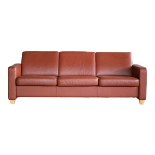Danish Mid Century Modern Sofa in Brown Leather For Sale