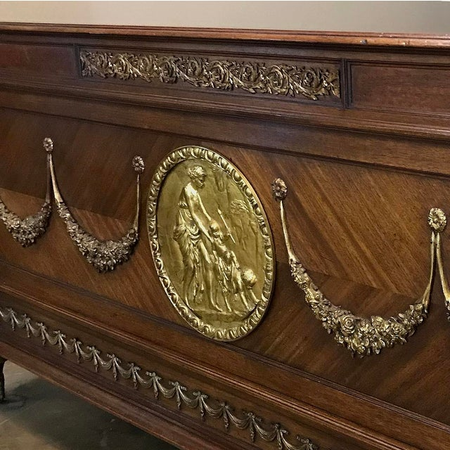 Bronze 19th Century French Louis XVI Queen Bed With Ormolu For Sale - Image 7 of 13