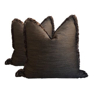 Striped Pillows with Faux Lamb Trim - A Pair