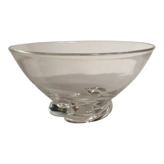 Vintage Clear Steuben Snail Bottom Crystal Bowl, Signed For Sale