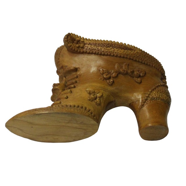 Asian Chinese Oriental Wood Carved Heel Shape Display Figure For Sale - Image 3 of 7