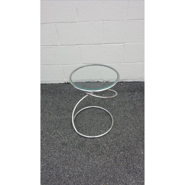 Chrome Glass Spiral Table by Leon Rosen for Pace - Image 3 of 5