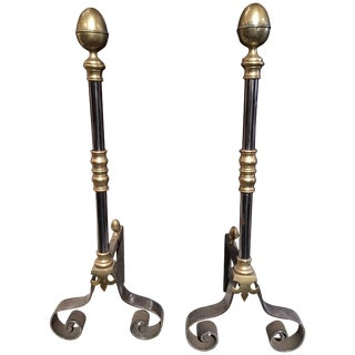 Pair of Iron and Brass Chenets or Andirons, 19th Century For Sale