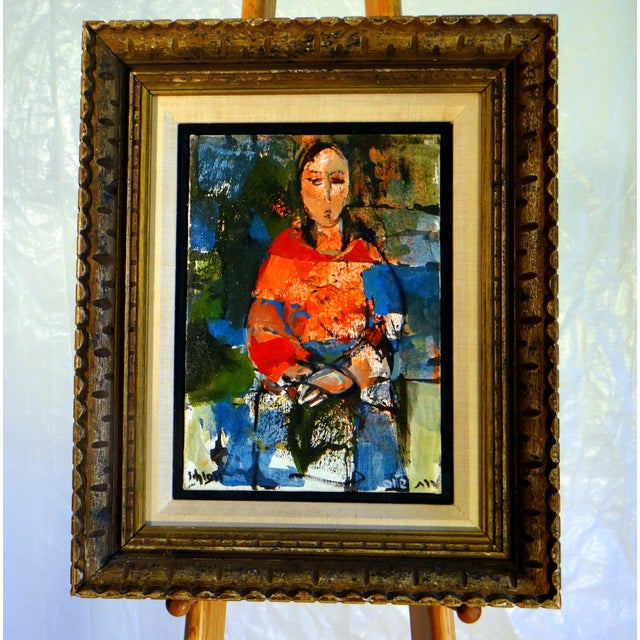 """""""Sephardic Woman"""" by RUTH SCHLOSS ( b.1922-2013 Germany/Israel). Signed oil on canvas, portraying an image of social..."""