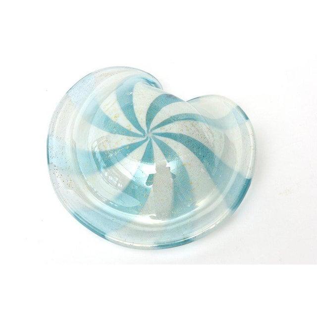 Turquoise Murano Alfredo Barbini Glass Pinwheel Bowl For Sale - Image 8 of 11