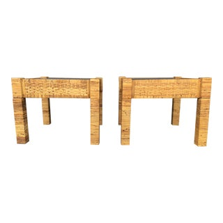 Vintage Billy Baldwin Style Wrapped Rattan Side Tables- a Pair For Sale