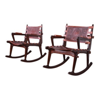 Angel Pazmino Ecuadorian Wood and Leather Rocking Chairs, Pair For Sale