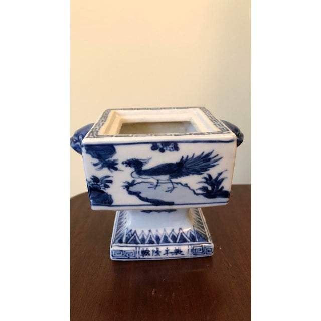 White Fine Antique Chinese Blue and White Foo Dog Handles Ginger Jar, Signed 1711-1799 For Sale - Image 8 of 9