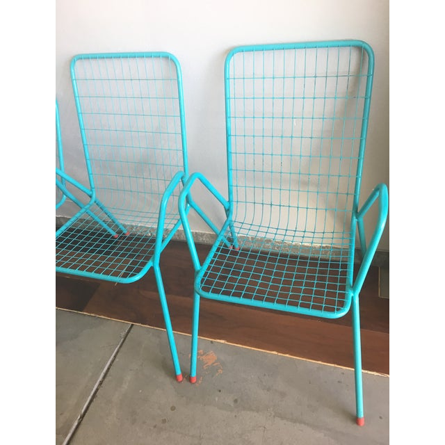 1950s 1950s Vintage Emu Industrial Metal Aqua Patio Chairs - Set of 4 For Sale - Image 5 of 13