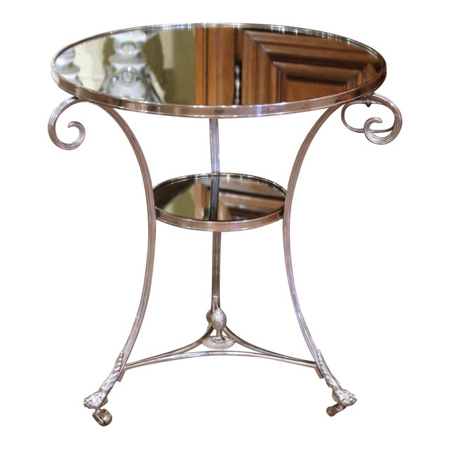 Vintage French Directoire Silver Plated Metal and Mirrored Top Guéridon Table For Sale