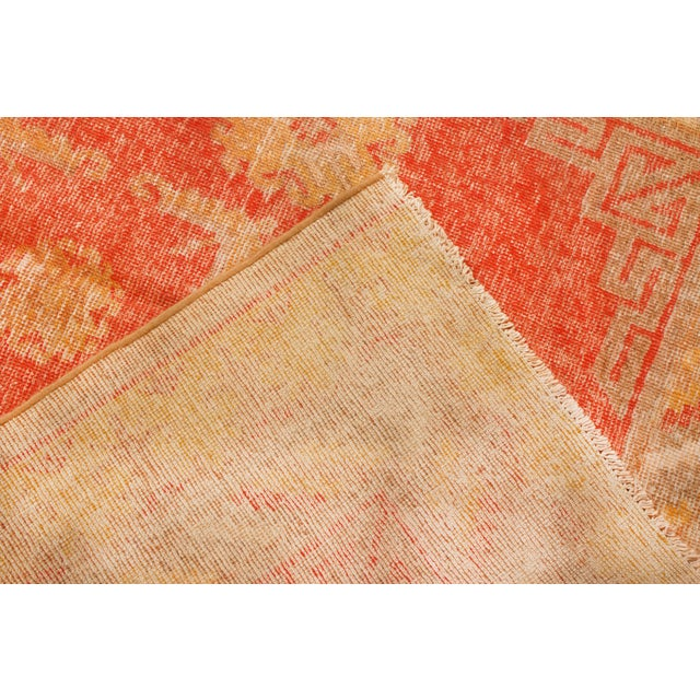 1920s Antique Khotan Transitional Red and Yellow Wool Rug - 4′6″ × 8′4″ For Sale - Image 5 of 6