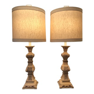 Vintage Frederick Cooper Asian Modern Monumental Table Lamps With Shades - a Pair For Sale