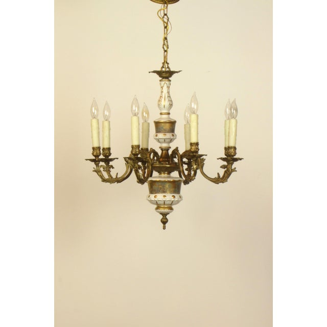 French Limoges Bronze Eight Arm Chandelier - Image 2 of 5
