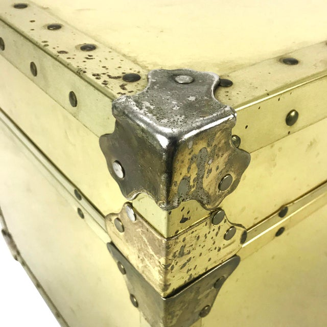Vintage Riveted Brass Trunk - Image 7 of 8