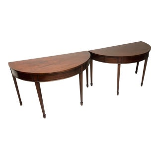 Antique French Demi-Lune Walnut Inlaid Tables - a Pair For Sale