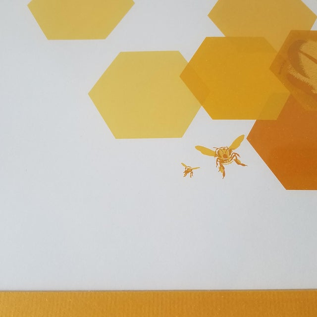 """Modern 1960s """"Bees and Hexagons"""" Minimalist Serigraph, Framed For Sale - Image 3 of 10"""
