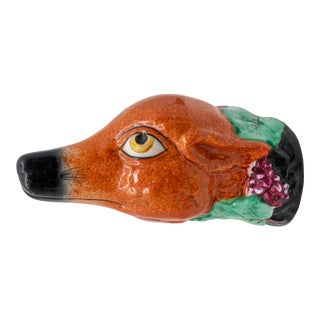 Porcelain Royal Staffordshire Fox With Grape Vine Stirrup Cup For Sale