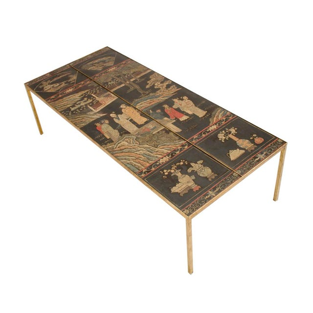 Vintage Chinoiseries Top Coffee Table With Leather Trim For Sale - Image 11 of 11
