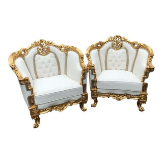 White and Gold French Louis XVI Chairs - a Pair For Sale