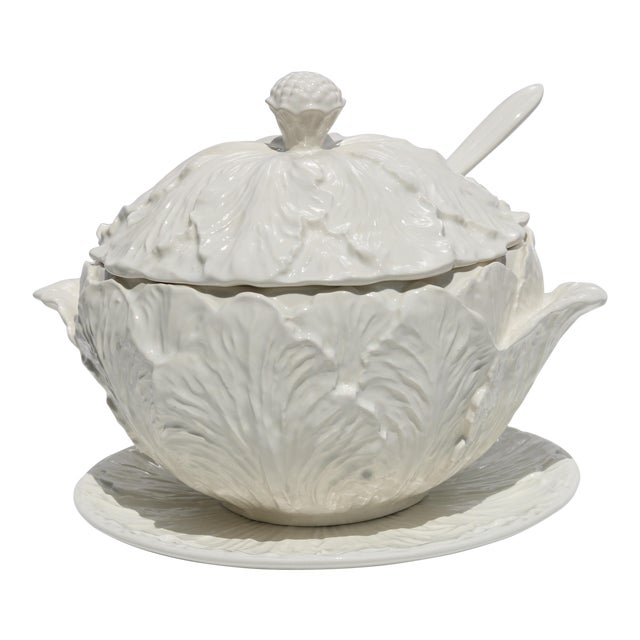 1950s Blanc De Chine Pottery Cabbage Leaf Soup Tureen With Ladle and Underplate - Set of 4 For Sale