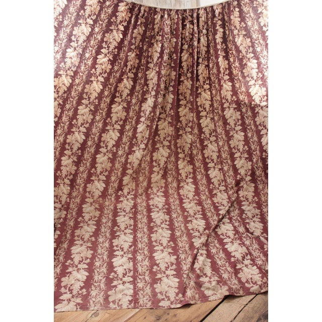Late 19th Century Antique 1870s French Large Printed Cotton Madder Brown Passementerie Bed Curtain For Sale - Image 5 of 9