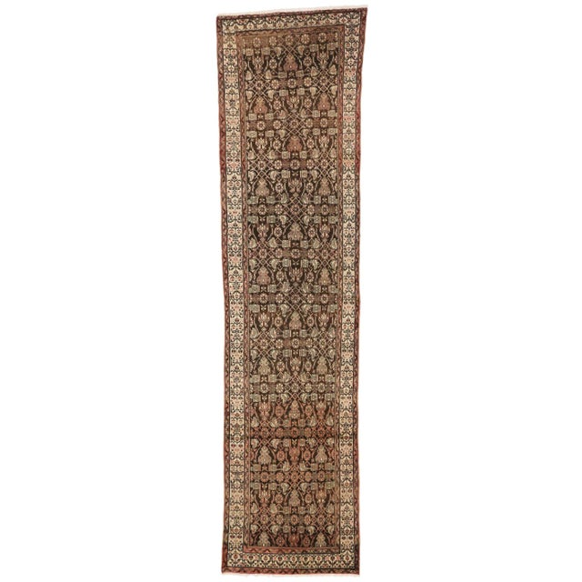 Textile Antique Persian Malayer Carpet Runner with Traditional Modern Style For Sale - Image 7 of 9