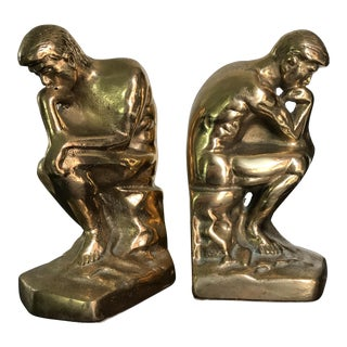 Vintage Solid Brass Thinking Man Bookends - A Pair For Sale