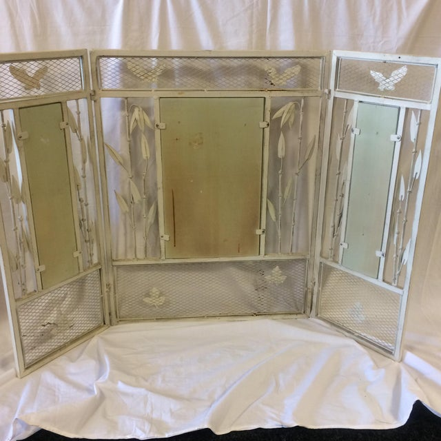 Vintage Shabby Chic Metal Hand Painted Fireplace Screen - Image 5 of 10