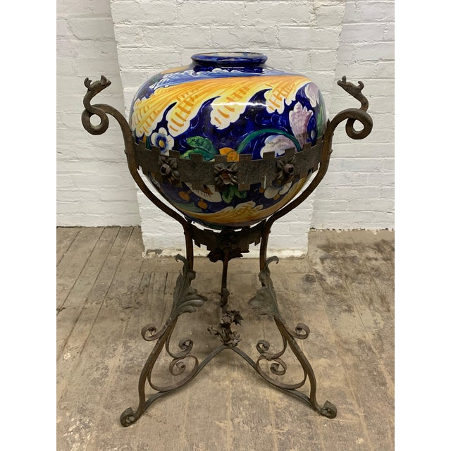 Antique Italian Wrought Iron Planter W/ Hand-Painted Majolica Vase For Sale - Image 9 of 9
